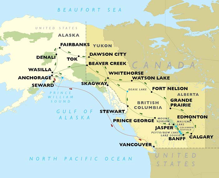 Alaska & The Yukon Full Circle Tour map