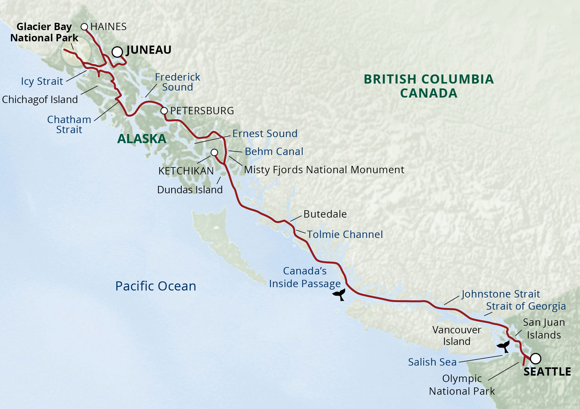 Alaska's Inside Passage & San Juans Cruise map
