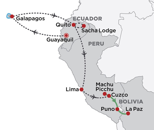 Amazon, Incas & Galapagos map