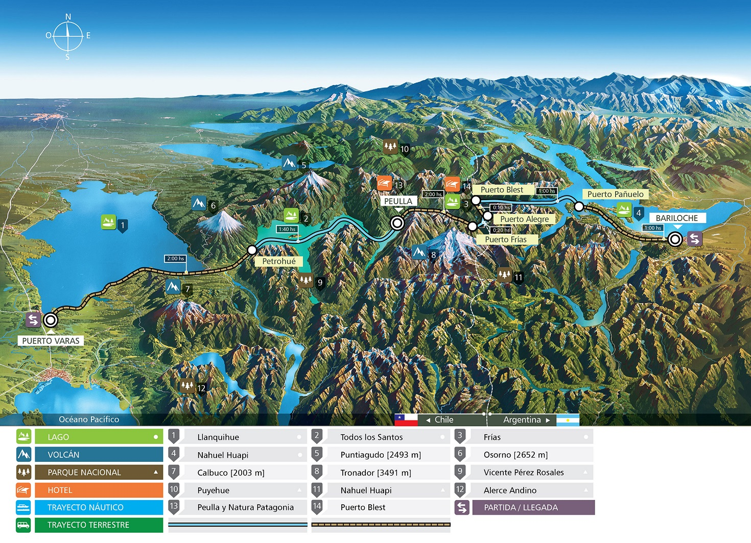 Andes Lakes Crossing map
