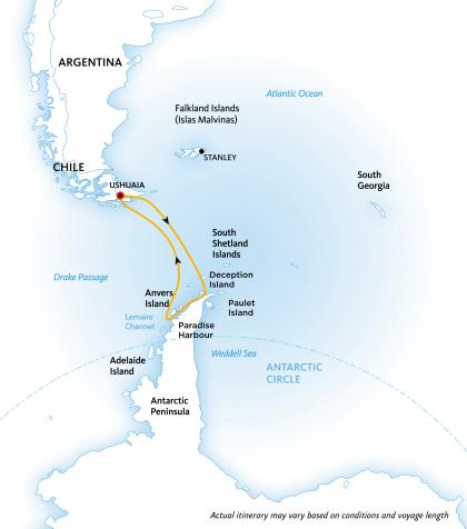 Antarctic Explorer Cruise:  Discovering the 7th Continent map