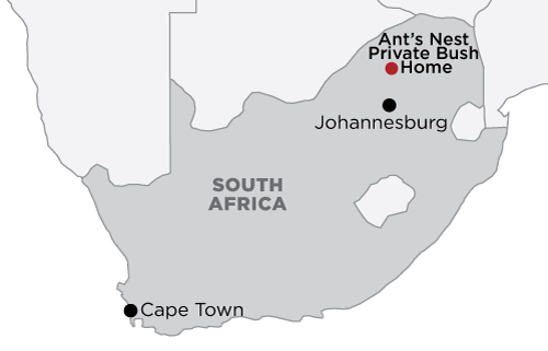 Ant's Nest Private Bush Home: Waterberg map
