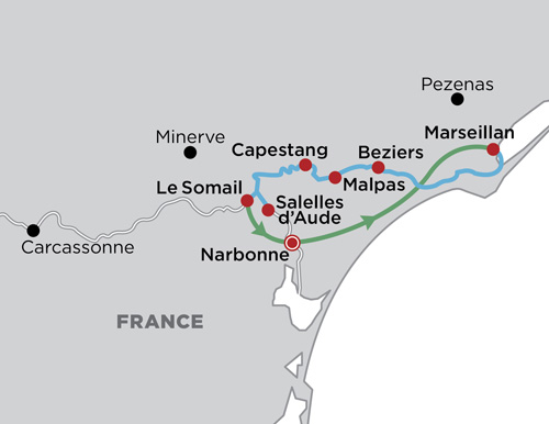 Barging the Canal du Midi map