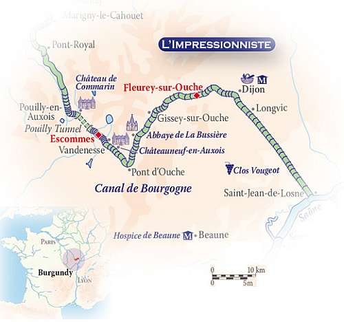 Barging the Lower Burgundy  map