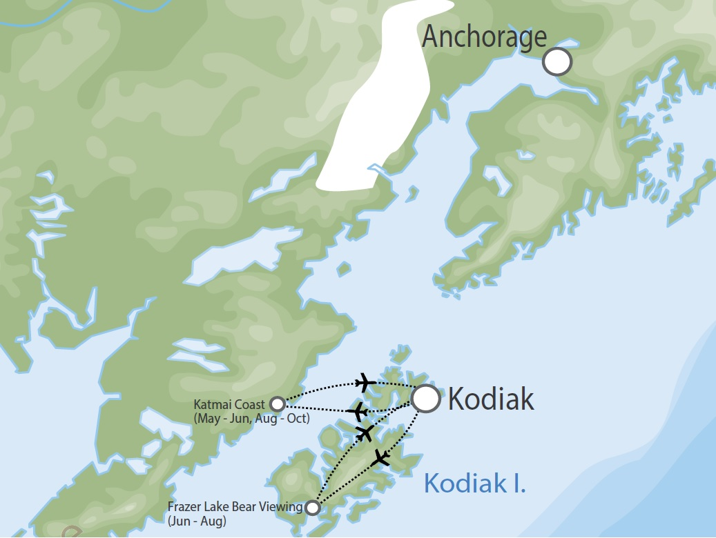 Bear Viewing on Kodiak Island map