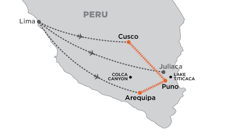 Belmond: Andean Plains and Islands of Discovery map