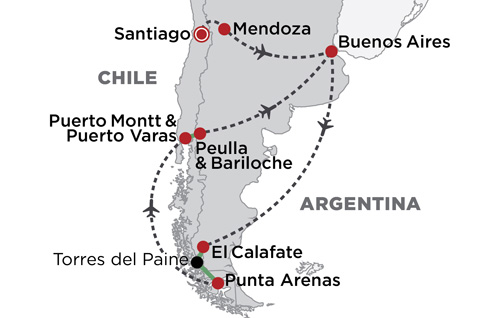 Best of Argentina & Chile map