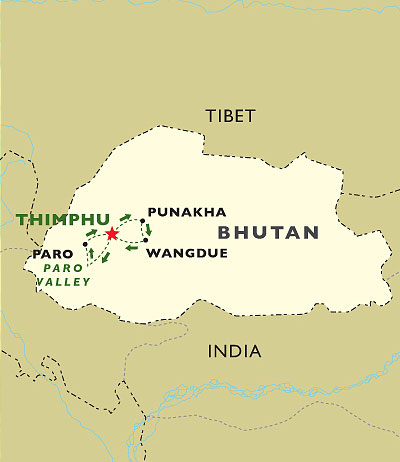 Bhutans Rice Bowl Valleys map