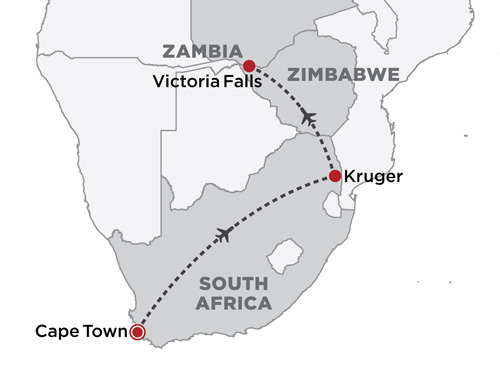Southern Africa Highlights map