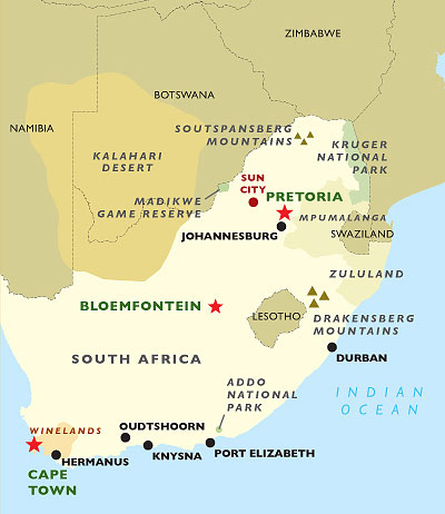 Cape & The Winelands map