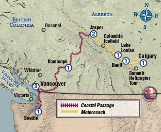 Coastal Passage Western Explorer from Calgary map