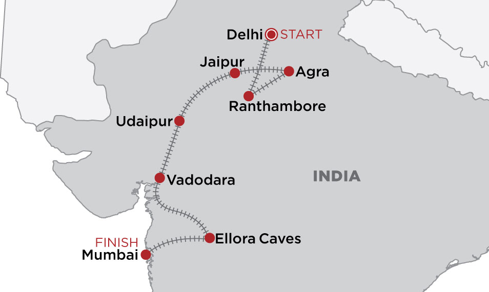 Indian Odyssey: Delhi to Mumbai  map