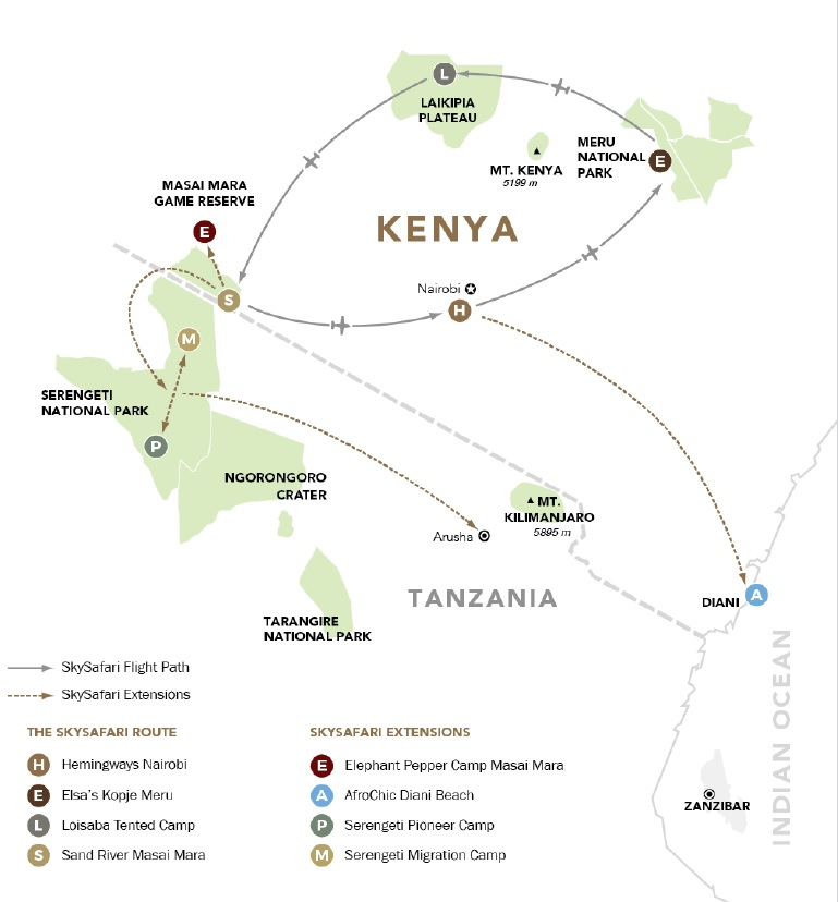 Elewana Sky Safari Kenya Connoisseur map