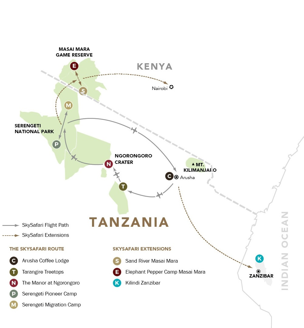 Elewana Sky Safari Tanzania map