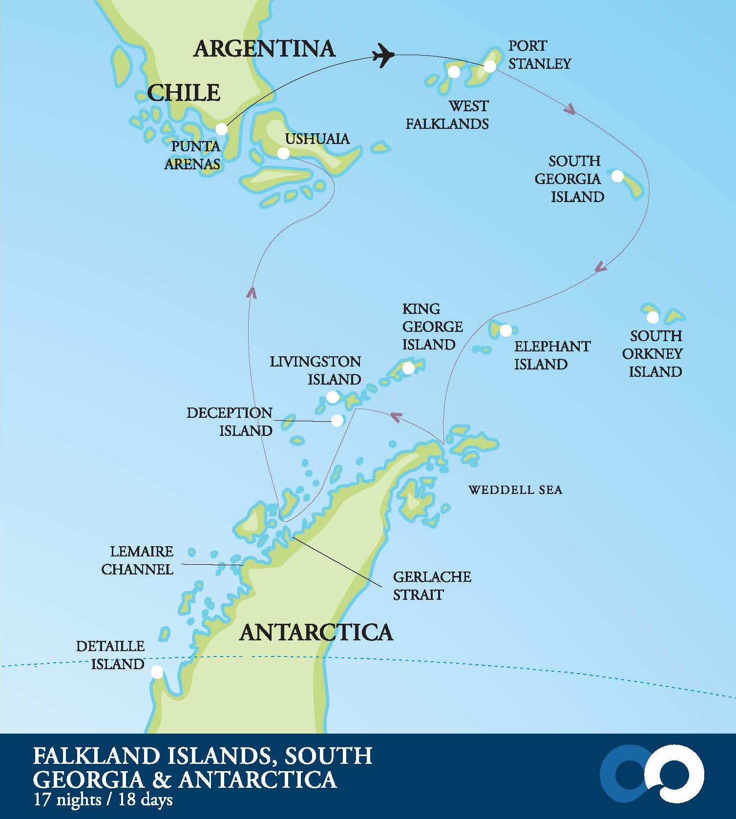 Falklands, South Georgia, Antarctica: Wildlife Cruise map