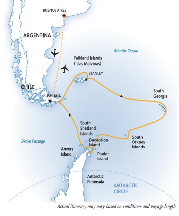 Falklands, South Georgia & Antarctica: Explorers & Kings  map