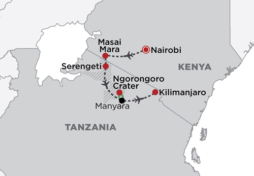 Fly Around East Africa map