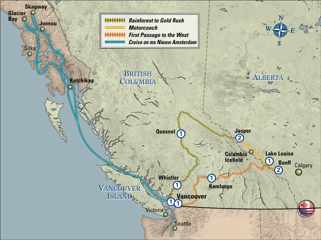 Golden Circle Via Whistler with Pre Alaska Cruise ms Volendam map