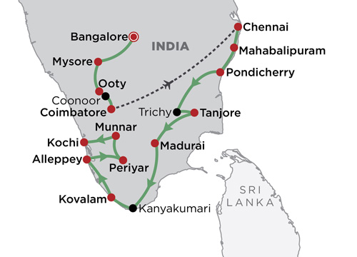 Grand Tour of South India map