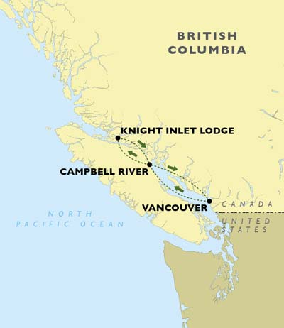 Grizzly Bears of Knight Inlet Lodge map