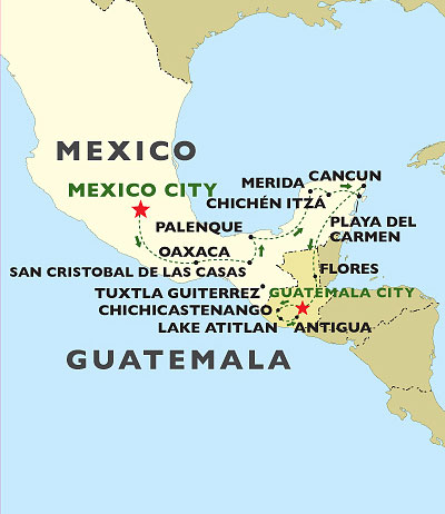 Highlights of Mexico and Guatemala map