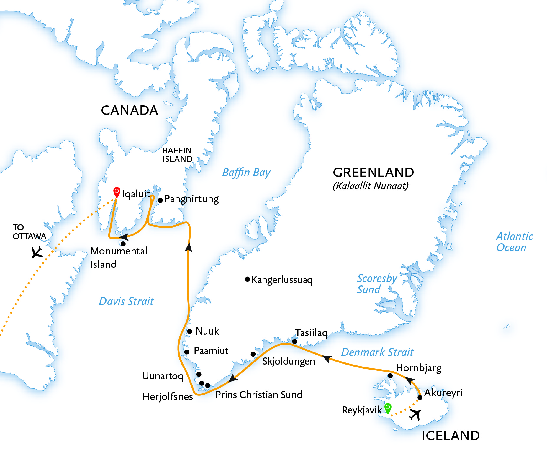 Iceland, Greenland, and Baffin Island: Arctic Circle Traverse map