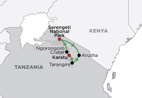 Ngorongoro & The Serengeti map
