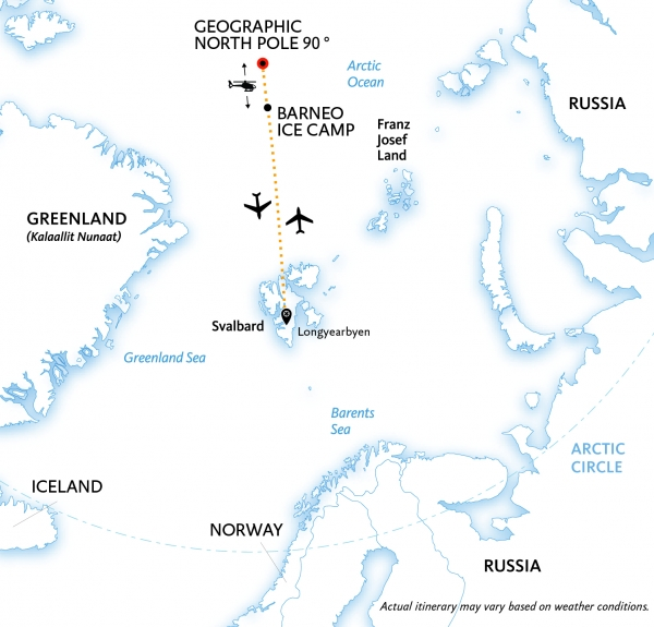 North Pole Express - Barneo Ice Camp map