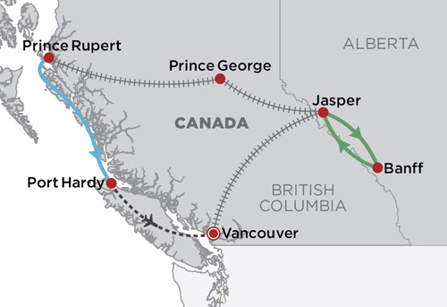 Northern BC Explorer by Rail map