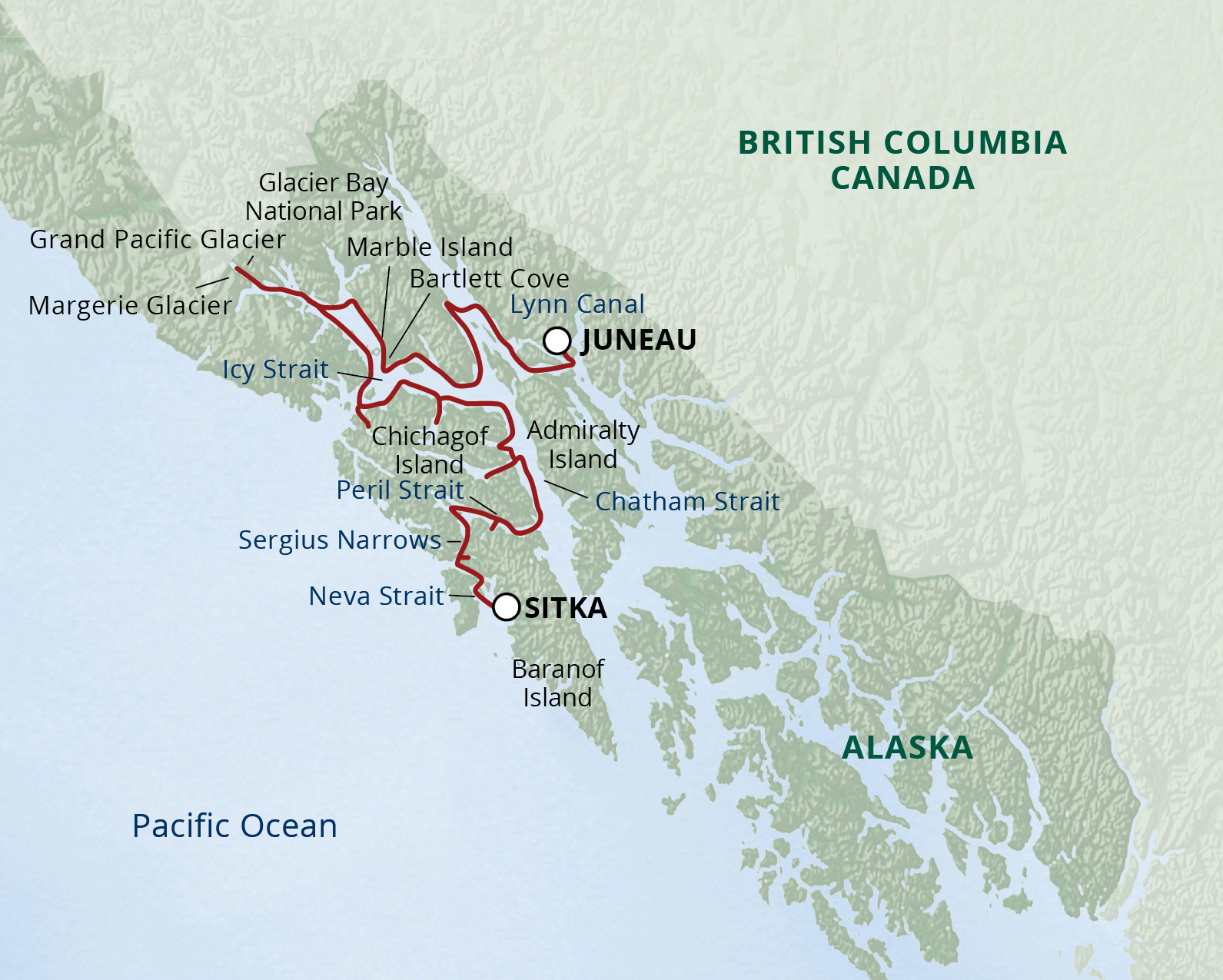 Northern Passages and Glacier Bay map