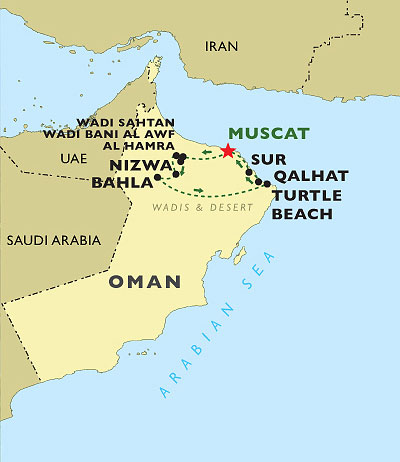Highlights of Oman map
