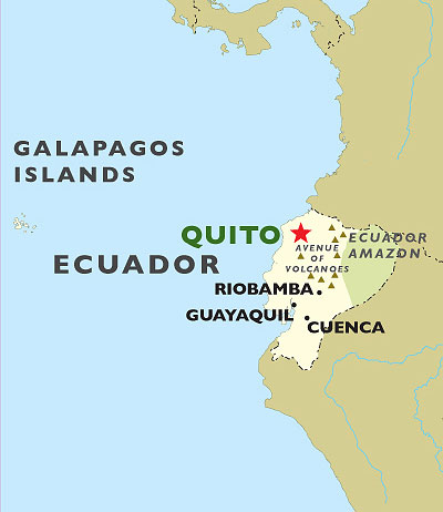 Quito to Guayaquil map