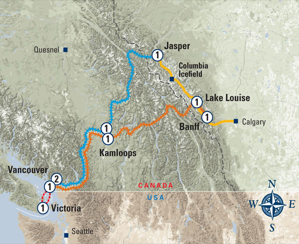 Rockies and Vancouver Island Circle Tour map