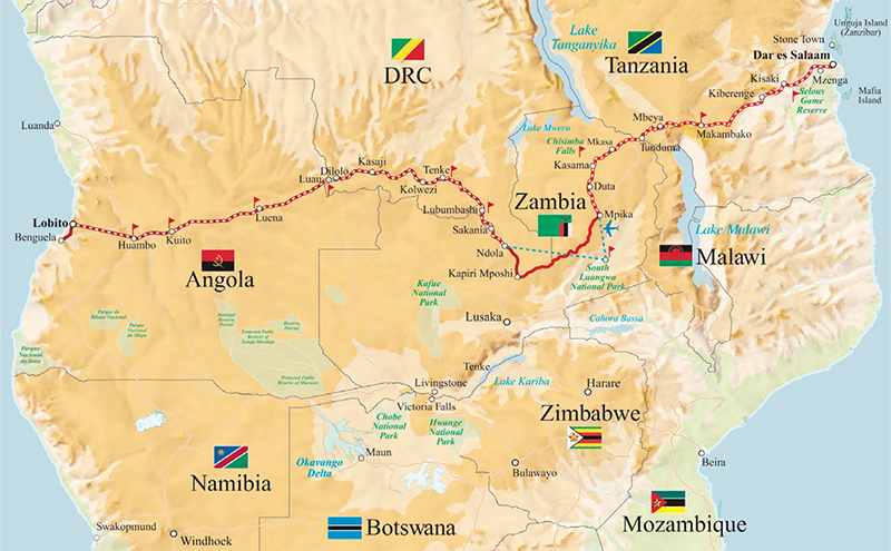 Rovos Rail: Trail of Two Oceans map