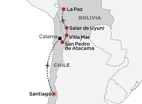 Santiago to La Paz - Atacama & the Uyuni Salt Flats map