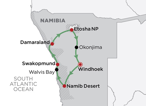 Self-Drive Namibia map