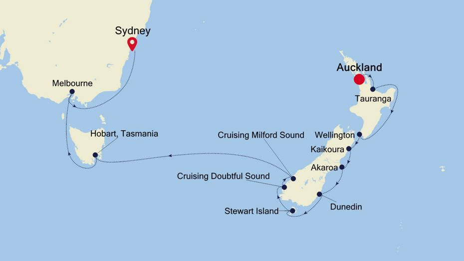 Silversea - Auckland to Sydney (or vv) map