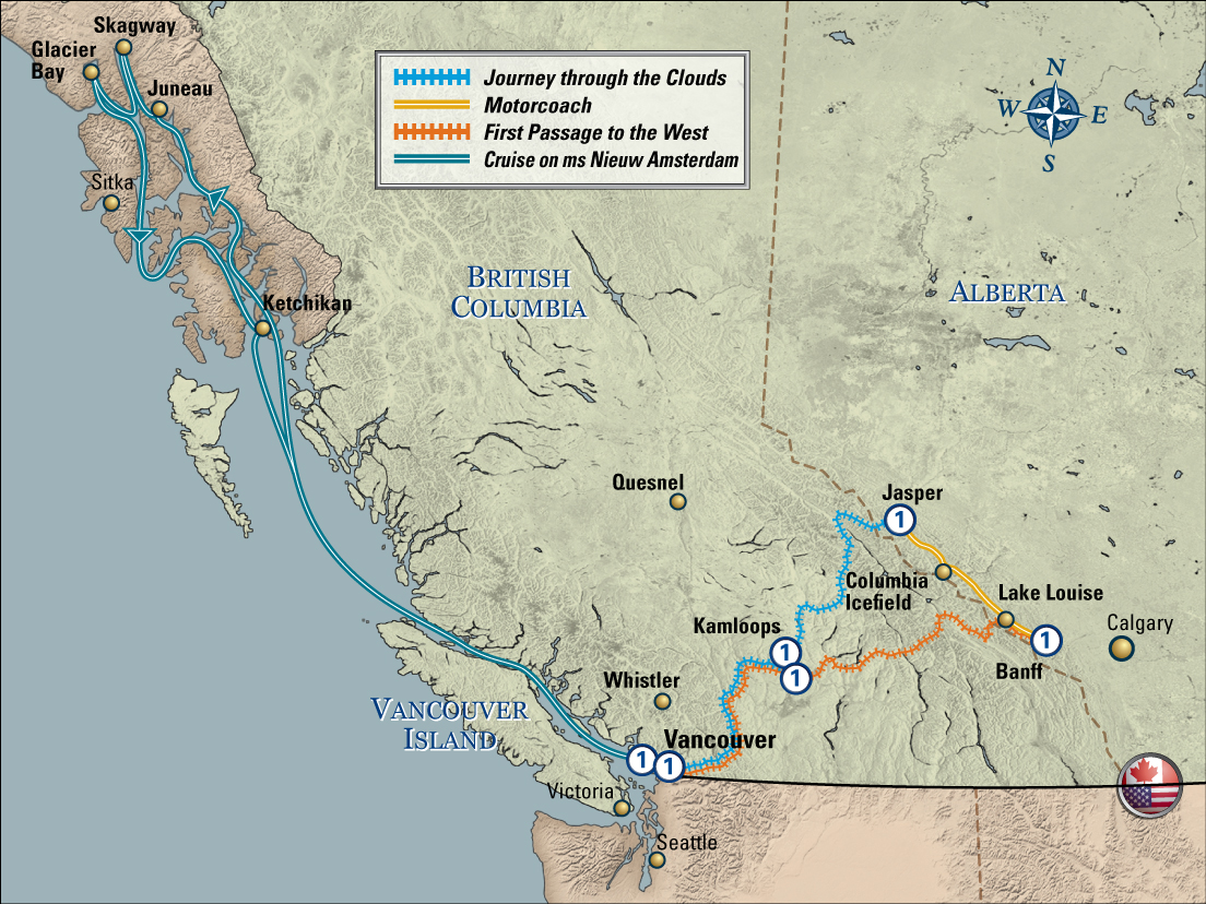 Canadian Rockies Escape Circle with Post Tour Cruise Nieuw Amsterdam map