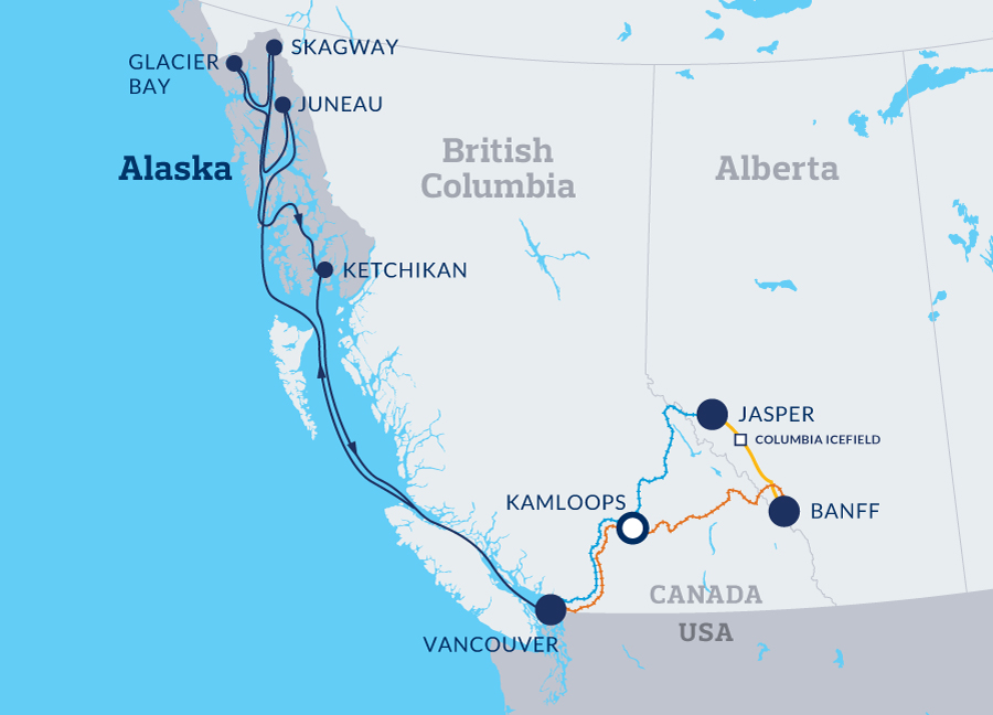 Canadian Rockies Escape Circle with pre cruise  map