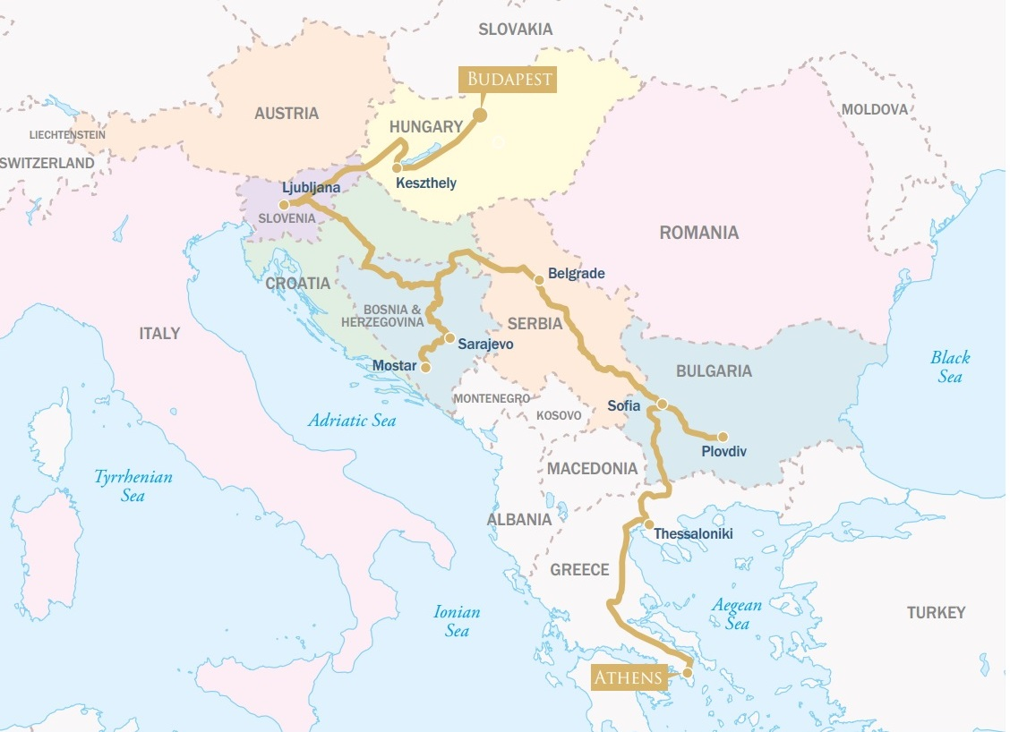 The Golden Eagle Danube Express map