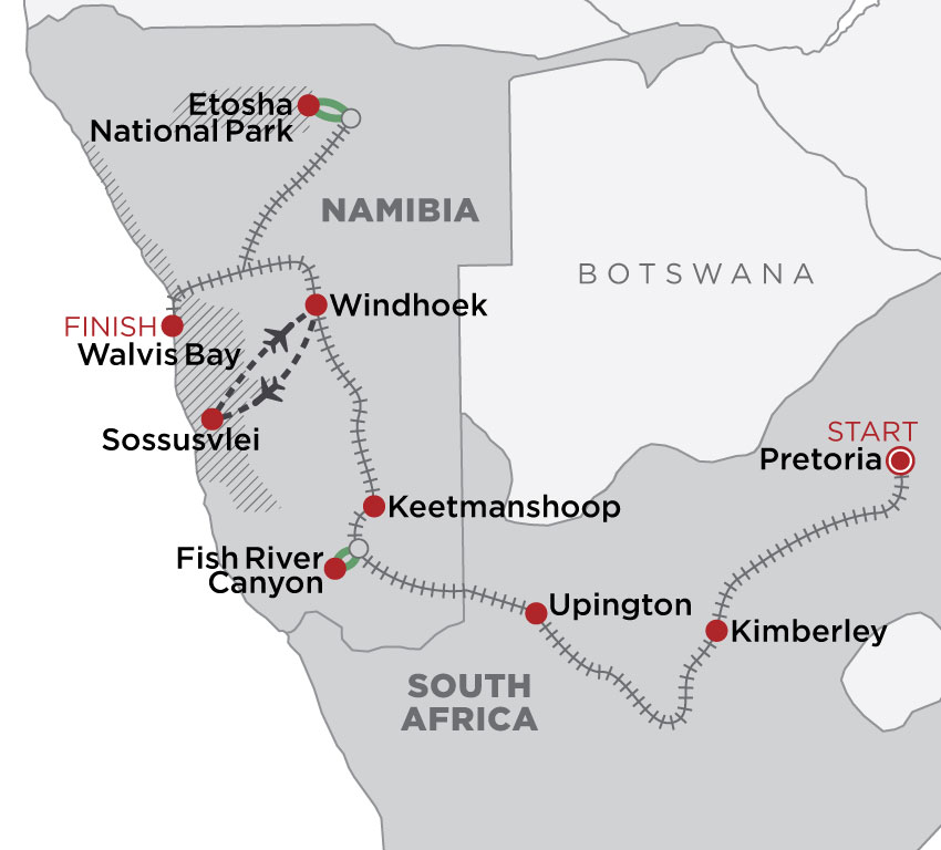 Rovos Rail: The Namibia Journey map