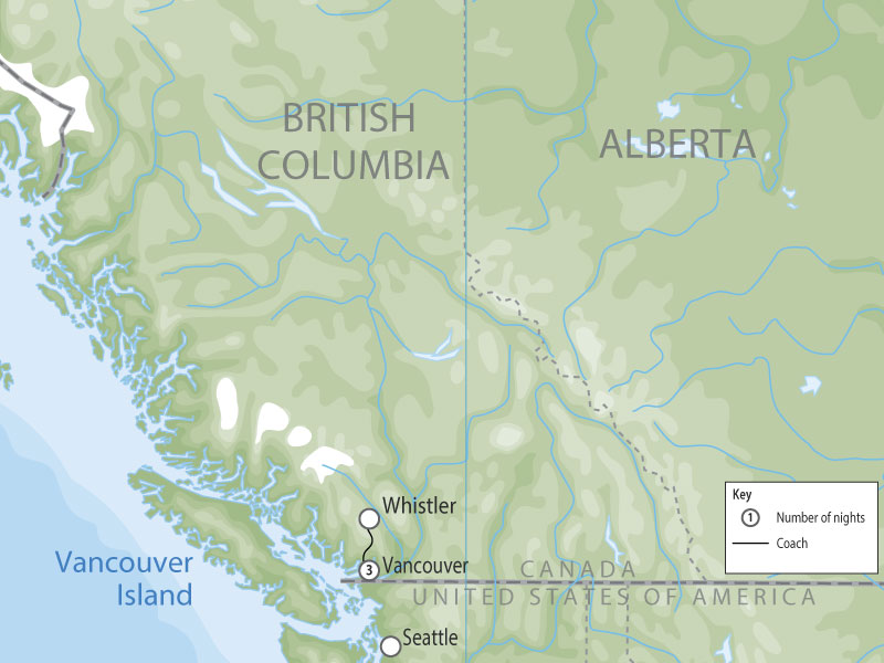 Vancouver & Whistler Winter Highlights map