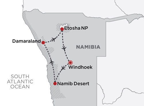 Wings over Namibia map