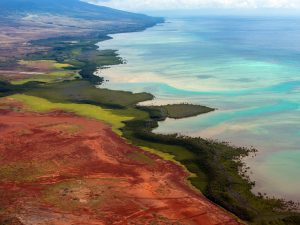 Aerial view of Molokai Island, Hawaii